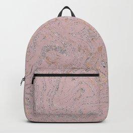 Elegant pink gold silver glitter marble Backpack
