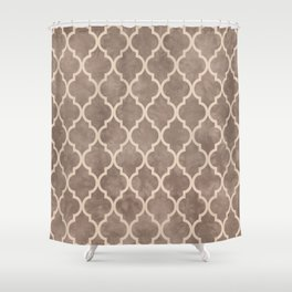 Classic Quatrefoil Lattice Pattern 914 Beige on Beige Shower Curtain