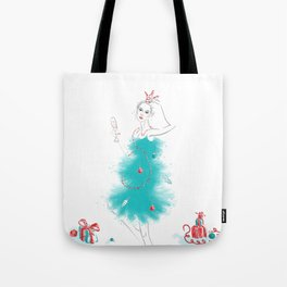 Woman in fantasy christmas dress Tote Bag