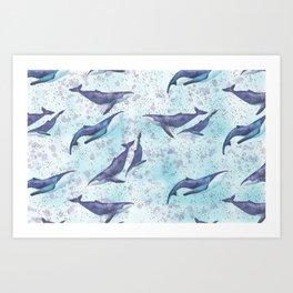 Big space whales light blue pattern Art Print