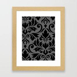 Flourish Damask Art I Black on Gray Framed Art Print