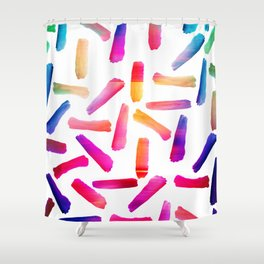 Modern colorful watercolor artistic brushstrokes Shower Curtain