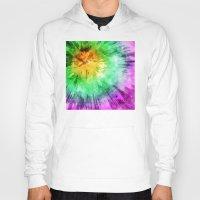 tie dye Hoodies featuring Colorful Tie Dye Design by Phil Perkins
