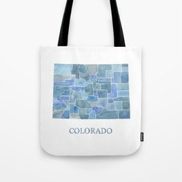 Colorado Counties BluePrint Watercolor Map Tote Bag