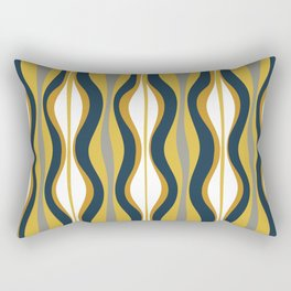 Hourglass Abstract Mid Century Modern Retro Pattern in Mustard Yellow, Navy Blue, Grey, and White Rectangular Pillow