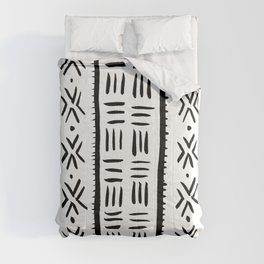 White Mudcloth Tribal Pattern Comforters
