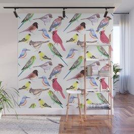 Watercolor spring birds Wall Mural
