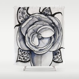 Lacy leaf peony Shower Curtain