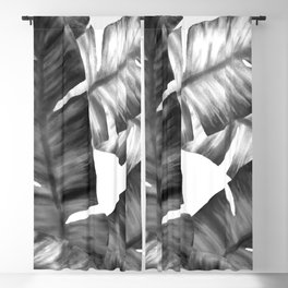 Black And White Tropical Banana Leaves Pattern Blackout Curtain