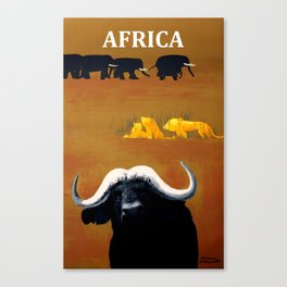 Vintage Africa Travel - Water Buffalo Canvas Print