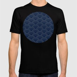 Japanese Blue Wave Seigaiha Indigo Super Moon Pattern T-shirt