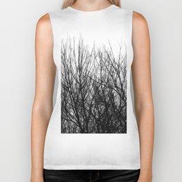 Black white modern abstract tree branch pattern Biker Tank