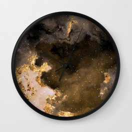 100 Starry Nebulas in Space Black and Gold 035 (Square) Wall Clock