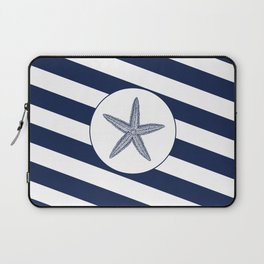 Nautical Starfish Navy Blue & White Stripes Beach Laptop Sleeve