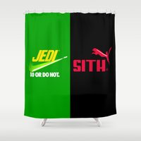 jedi Shower Curtains featuring JEDI VS DART VADER by BeautyArtGalery