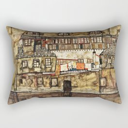 Egon Schiele - House Wall On The River Rectangular Pillow