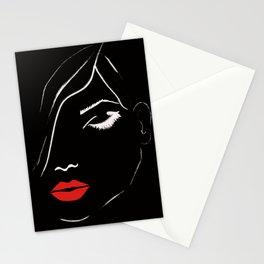 eyelashes and lips fashion illustration Stationery Cards