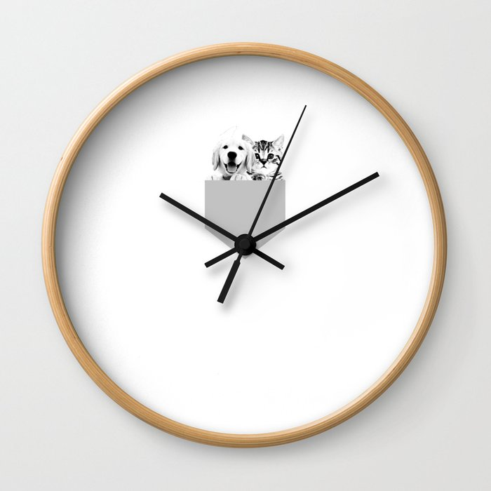 Puppy and Kitten Pocket Square Cute Graphic T-shirt Wall Clock