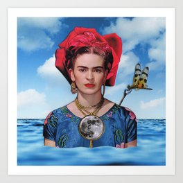Blue Frida Art Print