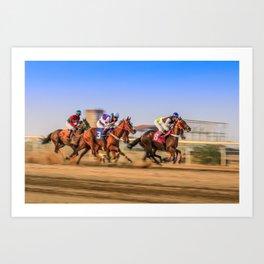 horses racing Art Print