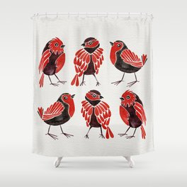 Finches – Red & Black Palette Shower Curtain