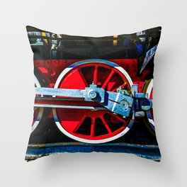 Red Wheels And Driving Rods Of A Vintage Steam Locomotive Throw Pillow