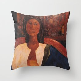 Woman in Blue Scarf Throw Pillow