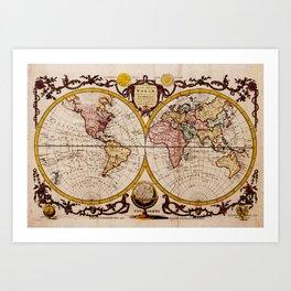 Vintage Map of The World (1782) - Stylized Art Print