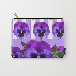 MODERN LILAC & PURPLE PANSY FLOWERS ART Carry-All Pouch