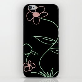 Simple Line Drawing Flowers on Black Background iPhone Skin