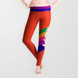 BE HAPPY - rainbow retro typography Leggings