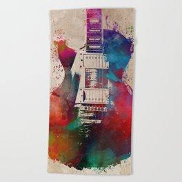 guitar art #guitar Beach Towel