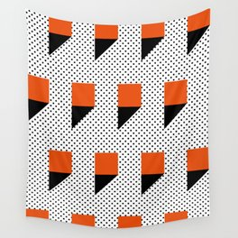 A lot of orange 3d Commas, planted in a carpet with black dots. Wall Tapestry