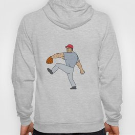 Baseball Player Pitcher Ready to Throw Ball Cartoon Hoody