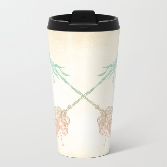 Tribal Arrows Turquoise Coral Gradient Metal Travel Mug