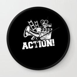 Action Clapperboard Filmmaker Wall Clock