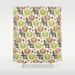 Mid Century Modern Space Flower Pattern Brown And Chartreuse Shower Curtain