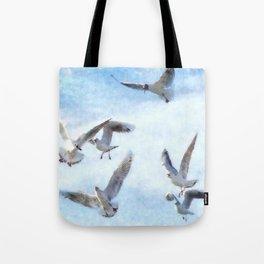 Gulls In Flight Watercolor Tote Bag