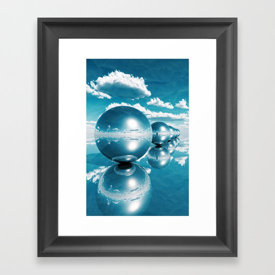blue spheres in line paper Framed Art Print
