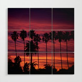 Sunset over Hollywood Wood Wall Art