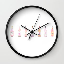 Watercolor Rosé Wine Bottles Wall Clock