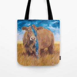 Sky Blue Cow Tote Bag