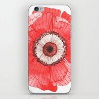 oana befort iPhone & iPod Skins featuring Red Poppy by Oana Befort
