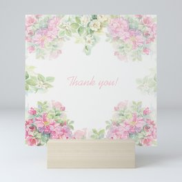 Thank you quote & Rose flowers Mini Art Print