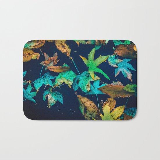 Blue Leaves Bath Mat
