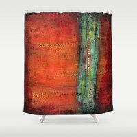 copper Shower Curtains featuring Copper by Paper Rescue Designs