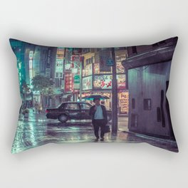 The Smiling Man // Rainy Tokyo Nights Rectangular Pillow
