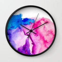 Modern pink blue abstract watercolor wash paint Wall Clock