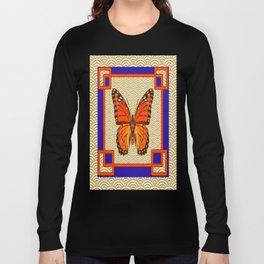 Monarch Butterfly Asian Pattern Blue Deco Art Long Sleeve T-shirt