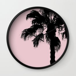 Palm Tree Silhouettes On Pink Wall Clock